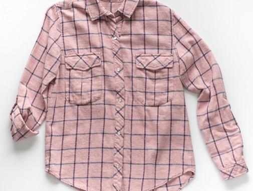 ウール混チェック長袖Wポケシャツ